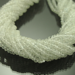 White Topaz Donuts Facetted 3/2mm Rope 41cm
